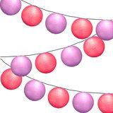 Lampionpakket - Paars & Fuchsia - 20-delig - incl. LED string