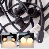 Zwarte prikkabel - 50 meter - inclusief warm witte LED lampen