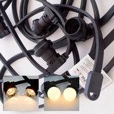 Zwarte prikkabel - 20 meter - inclusief warm witte LED lampen