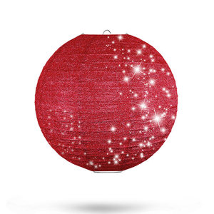 Lampion rood glitter 25cm