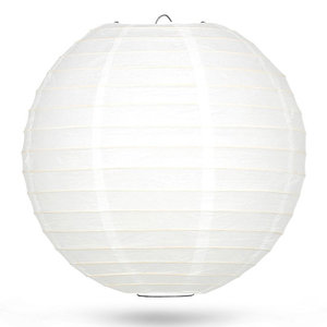 Lampion wit bamboe ring 50cm