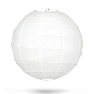 Lampion wit bamboe cross ring 35cm