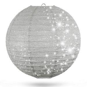 Lampion zilver glitter 50cm