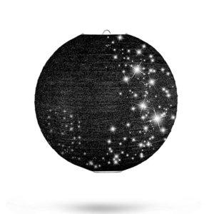 Lampion zwart glitter 25cm