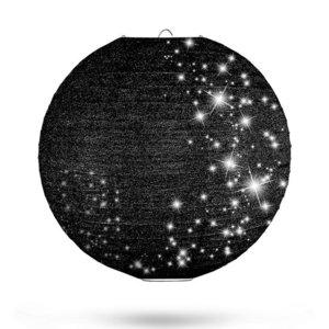 Lampion zwart glitter 35cm