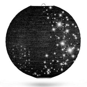 Lampion zwart glitter 50cm