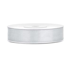 Rolletje 12mm zilver satijnen lint - 25 meter