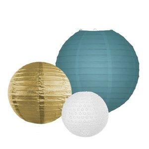 Lampionpakket - Dusty Blue & Gold - 10-delig