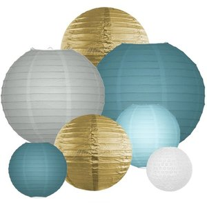 Lampionpakket - Dusty Blue & Gold - 40-delig