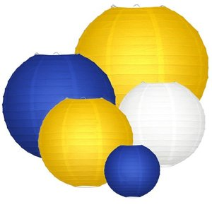 Lampionpakket - Navy blue & Yellow - 20-delig