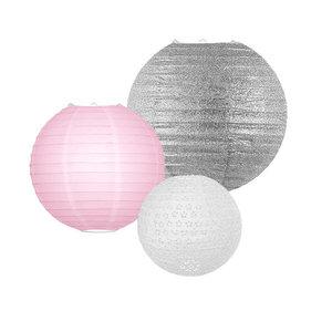 Lampionpakket - Pink & Silver - 10-delig