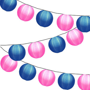 Lampionpakket - Nylon Roze / Donkerblauw - 20-delig - incl. LED string