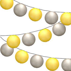 Lampionpakket - Okergeel & Kiezelgrijs - 20-delig - incl. LED string
