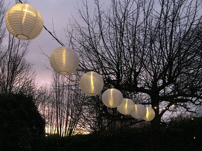 Lampionpakket - Nylon Wit - 20-delig - incl. LED string - 01